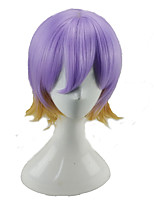 cheap -Cosplay Wig Synthetic Purple Blonde Double Color Short Curly Hair Wigs with Bangs  for Man and Women