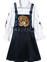 Недорогие -Для женщин Повседневные Осень Рубашка Платья Костюмы Рубашечный воротник,На каждый день Однотонный С животными принтами Длинные рукава,