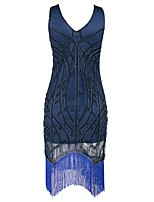 preiswerte -20er Gatsby Kostüm Damen Flapper Kleid Dunkelblau Vintage Cosplay Polyester Kurzarm Kappe