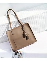 cheap -Women's Bags PU Bag Set Pocket Flower for Shopping Office & Career All Seasons Black Blushing Pink Gray Brown Khaki