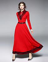 economico -Linea A Fodero Vestito Da donna-Feste Per uscire Vintage Moda città Collage A V Maxi Maniche lunghe Poliestere Inverno Autunno Vita alta