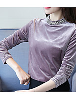 cheap -Women's Going out Vintage Winter Fall T-shirt,Solid Round Neck Long Sleeve Cotton Thick