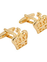 cheap -Crown Golden Cufflinks Copper Formal Simple Daily Formal Men's Costume Jewelry