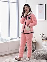 abordables -Costumes Pyjamas Femme Epais Cachemire Rose Claire