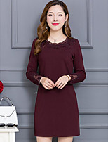 cheap -Women's Casual/Daily Simple Lace Dress,Solid Round Neck Above Knee Long Sleeve Cotton Spring Fall Mid Rise Micro-elastic Opaque