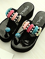 cheap -Women's Shoes PU Summer Comfort Slippers & Flip-Flops Flat Heel Closed Toe for Casual Outdoor White Black