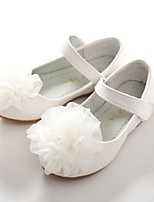 cheap -Girls' Shoes PU Spring Fall Flower Girl Shoes Novelty Comfort Flats Appliques Magic Tape for Wedding Party & Evening White Pink