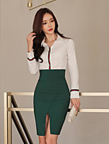 cheap -Women's Holiday Simple Summer Fall Shirt Skirt Suits,Solid Shirt Collar Long Sleeve Cotton