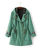 cheap -Women's Daily Casual Street chic Fall Trench Coat,Print Hooded Long Sleeve Long Cotton Polyester Oversized
