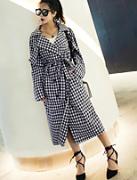 cheap -Women's Going out Simple Winter Fall Trench Coat,Houndstooth Shirt Collar Long Sleeve Long Spandex Oversized