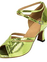 cheap -Latin Faux Leather Sandal Heel Professional Customized Heel Green / Customizable
