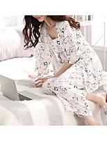 cheap -Women's Suits Pajamas,Print Floral Cotton White