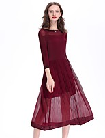 Недорогие -Жен. Шинуазери (китайский стиль) Богемный Свободный силуэт Платье - Однотонный, Плиссировка