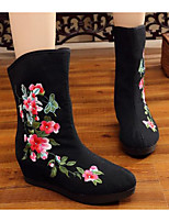 cheap -Women's Shoes Fabric Spring Fall Comfort Fashion Boots Boots Flat Heel Mid-Calf Boots for Casual Red Black