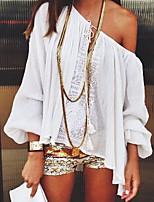 Недорогие -Для женщин Повседневные Весна Осень Блуза С открытыми плечами,На каждый день Однотонный Длинные рукава,Полиэстер,Плотная