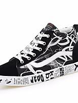 Недорогие -Муж. обувь Полотно Весна Осень Удобная обувь Кеды для Повседневные Цвет радуги Черно-белый Черный/Красный