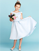 cheap -A-Line Princess Off Shoulder Tea Length Satin Junior Bridesmaid Dress with Pleats by LAN TING BRIDE®