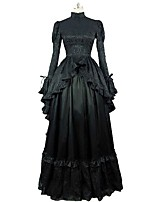 cheap -Rococo Victorian Costume Women's Adults' Dress Black Vintage Cosplay 100% Cotton Long Sleeves Puff Sleeve