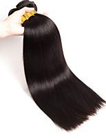 Недорогие -3 предмета Черный Прямой силуэт Бразильские волосы Ткет человеческих волос Наращивание волос
