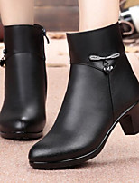 cheap -Women's Shoes Nappa Leather PU Winter Fall Comfort Boots Chunky Heel Booties/Ankle Boots for Casual Outdoor Black