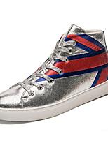 Недорогие -Муж. обувь Материал на заказ клиента Весна Лето Удобная обувь Кеды для Повседневные на открытом воздухе Черный Серебряный Красный
