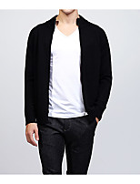 cheap -Men's Daily Casual Regular Cardigan,Solid Stand Long Sleeves Nylon Winter Fall Opaque Micro-elastic