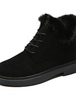 Недорогие -Жен. Обувь Нубук Полиуретан Зима Осень Удобная обувь Армейские ботинки Ботинки На толстом каблуке Ботинки для Повседневные Черный