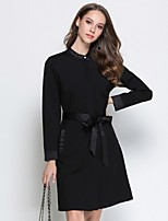 cheap -Women's Daily Going out Sophisticated Street chic A Line Above Knee Dress, Solid Round Neck Long Sleeves