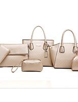 economico -Donna Sacchetti PU (Poliuretano) sacchetto regola Set di borsa da 6 pezzi Cerniera per Casual Inverno Autunno Champagne Nero Rosso Royal