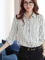 cheap -Women's Daily Casual Shirt,Solid Striped Shirt Collar Long Sleeve Cotton Acrylic