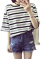 cheap -Women's Basic T-shirt - Striped Round Neck