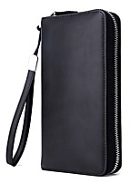 cheap -Men's Bags Cowhide Clutch Zipper for Formal Office & Career All Seasons Blue Black Red Blushing Pink Brown