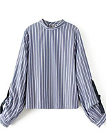 cheap -Women's Daily Casual Fall T-shirt,Striped Stand Long Sleeve Cotton Polyester Thin