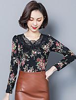 Недорогие -Для женщин Повседневные Все сезоны Блуза V-образный вырез,Изысканный Цветочный принт Длинные рукава,Полиэстер