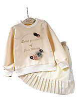 cheap -Girls' Daily Print Clothing Set,Cotton Polyester Spring Long Sleeve Casual Beige