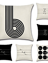 cheap -6 pcs Cotton/Linen Pillow Cover,Geometric Retro Letter