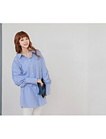 cheap -Women's Casual/Daily Street chic Shirt,Striped Shirt Collar Long Sleeves Cotton