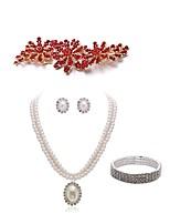 preiswerte -Damen Haarkämme Braut-Schmuck-Sets Strass Europäisch Modisch Hochzeit Party Künstliche Perle Diamantimitate Aleación Körperschmuck 1