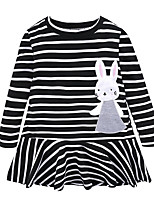 cheap -Girl's Daily Holiday Striped Dress,Cotton All Seasons Long Sleeves Cute Casual Gray Black