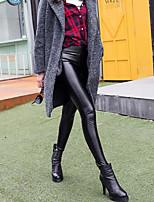 cheap -Women's Retro Cotton Bamboo Fiber Spandex Opaque Solid Color Legging,Solid Black