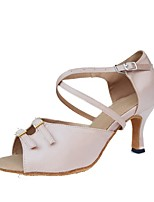 "cheap -Women's Latin Cowhide Heel Training Flared Heel Nude 4"" & Up Customizable"