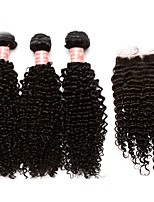 cheap -Brazilian Kinky Curly Human Hair Weaves 4pcs 0.3