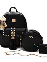 cheap -Women Bags PU Polyester Bag Set 3 Pcs Purse Set Beading Zipper Tassel for Casual All Season Gray Blushing Pink Black White
