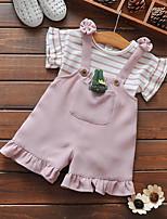 preiswerte -Baby Mädchen Kleidungs Set Alltag Gestreift Polyester Ganzjährig Kurze Ärmel Einfach Rosa