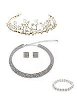 Недорогие -Жен. Венки Свадебные комплекты ювелирных изделий Стразы европейский Мода Свадьба Для вечеринок Искусственный жемчуг Искусственный
