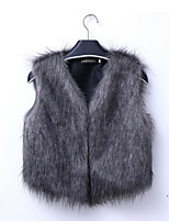 cheap -Women's Daily Casual Winter Spring Vest,Solid V Neck Sleeveless Short Rex Rabbit Fur