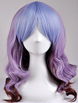 cheap -European and American fashion wig long section of the big wave mixed purple high temperature wire wig
