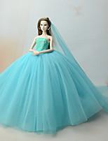 Недорогие -Платья Платье Для Кукла Барби Цвет морской волны Платья Для Девичий игрушки куклы