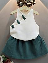 Недорогие -Девочки Набор одежды День рождения На выход Хлопок Однотонный Лето Без рукавов Активный Зеленый