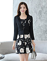cheap -Women's Daily Street chic Winter Fall Blazer Dress Suits,Floral Shirt Collar Long Sleeve Jacquard Polyester Micro-elastic